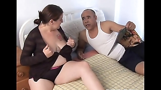 Lovely big tits BBW gets blasted helter-skelter cum all over their way pretty face