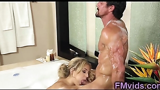 Sweet blonde gives hot blowjob